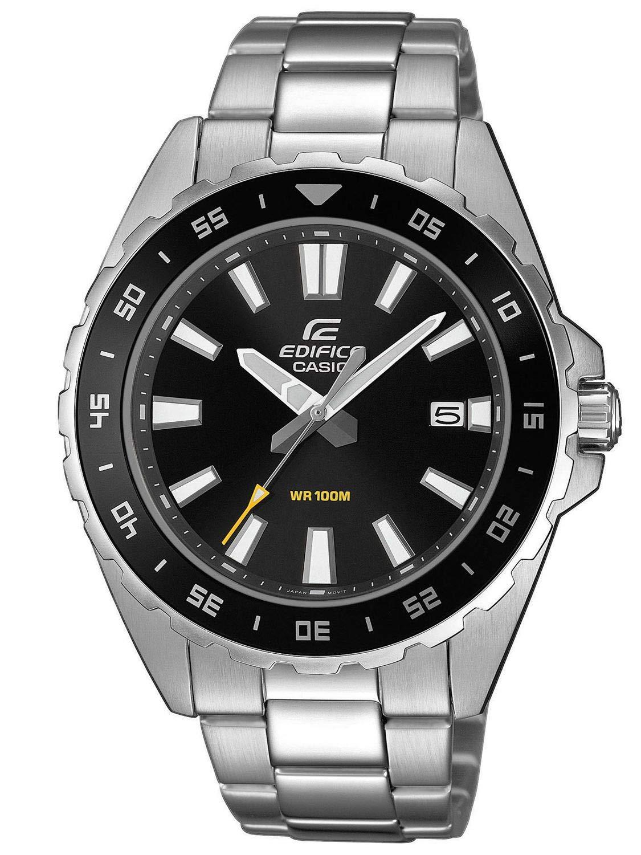 Herren Analog Quarz Uhr mit Edelstahl Armband EFV-130D-1AVUEF