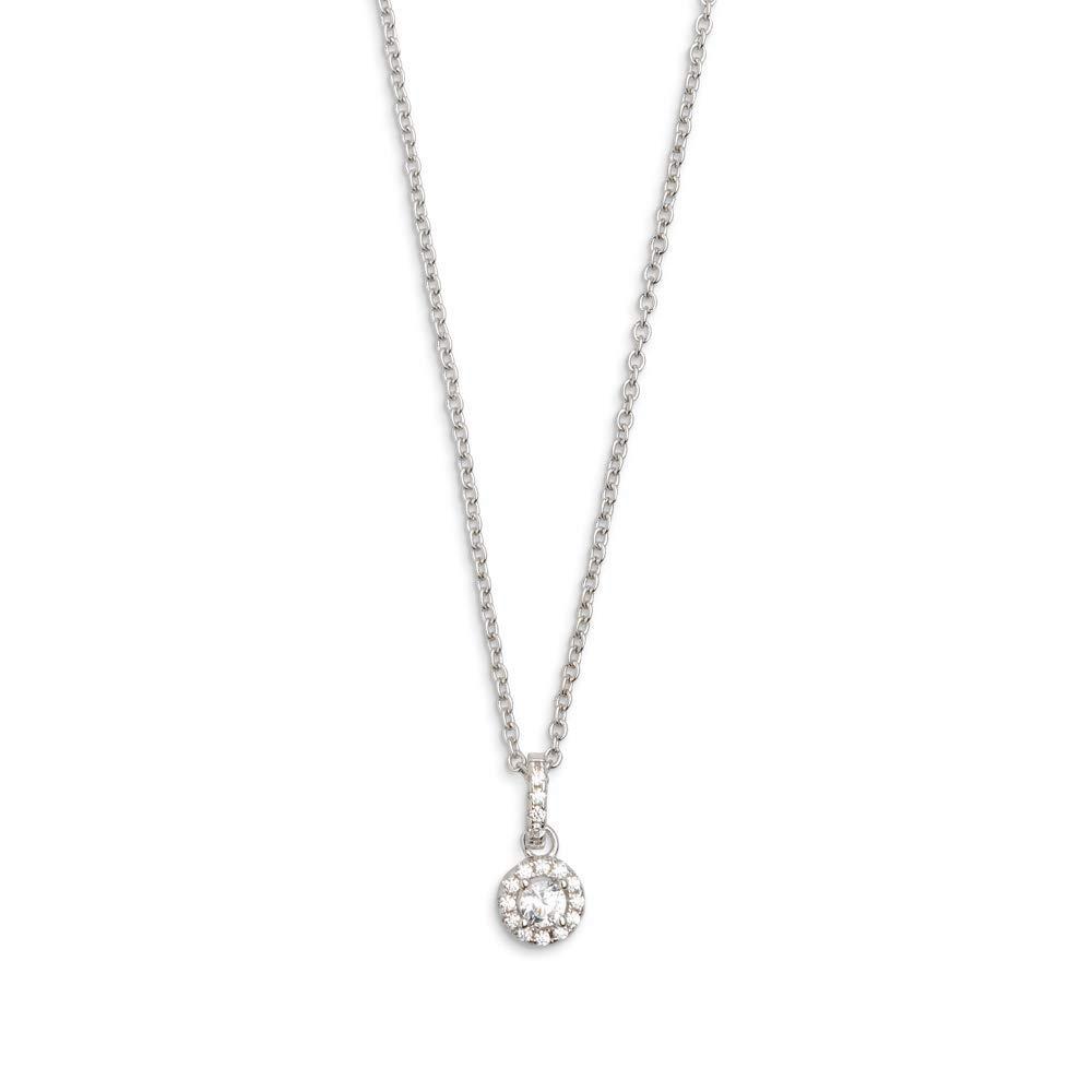 Damen Silber Sterling 925 Halskette mit Zirkonia Anhaenger 40-45cm - Silver Circle XS7360