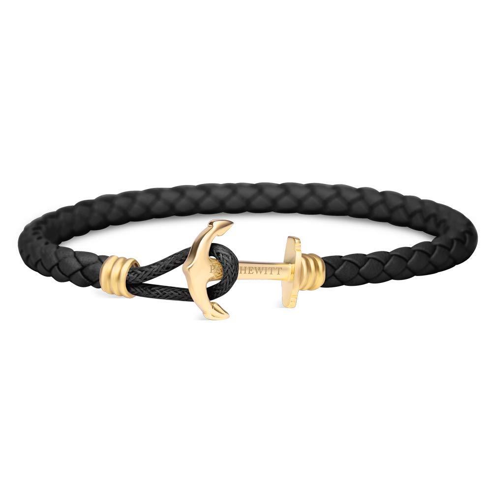 Anker Armband PHREP Lite mit der Option Einer individuellen Wunschgravur - Lederarmband mit Anker Schmuck aus Edelstahl (Gold)
