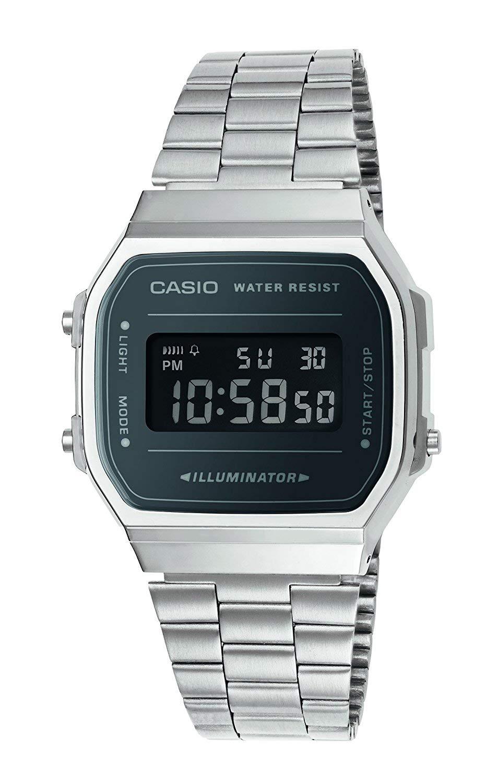 Unisex Erwachsene Digital Quarz Uhr mit Edelstahl Armband