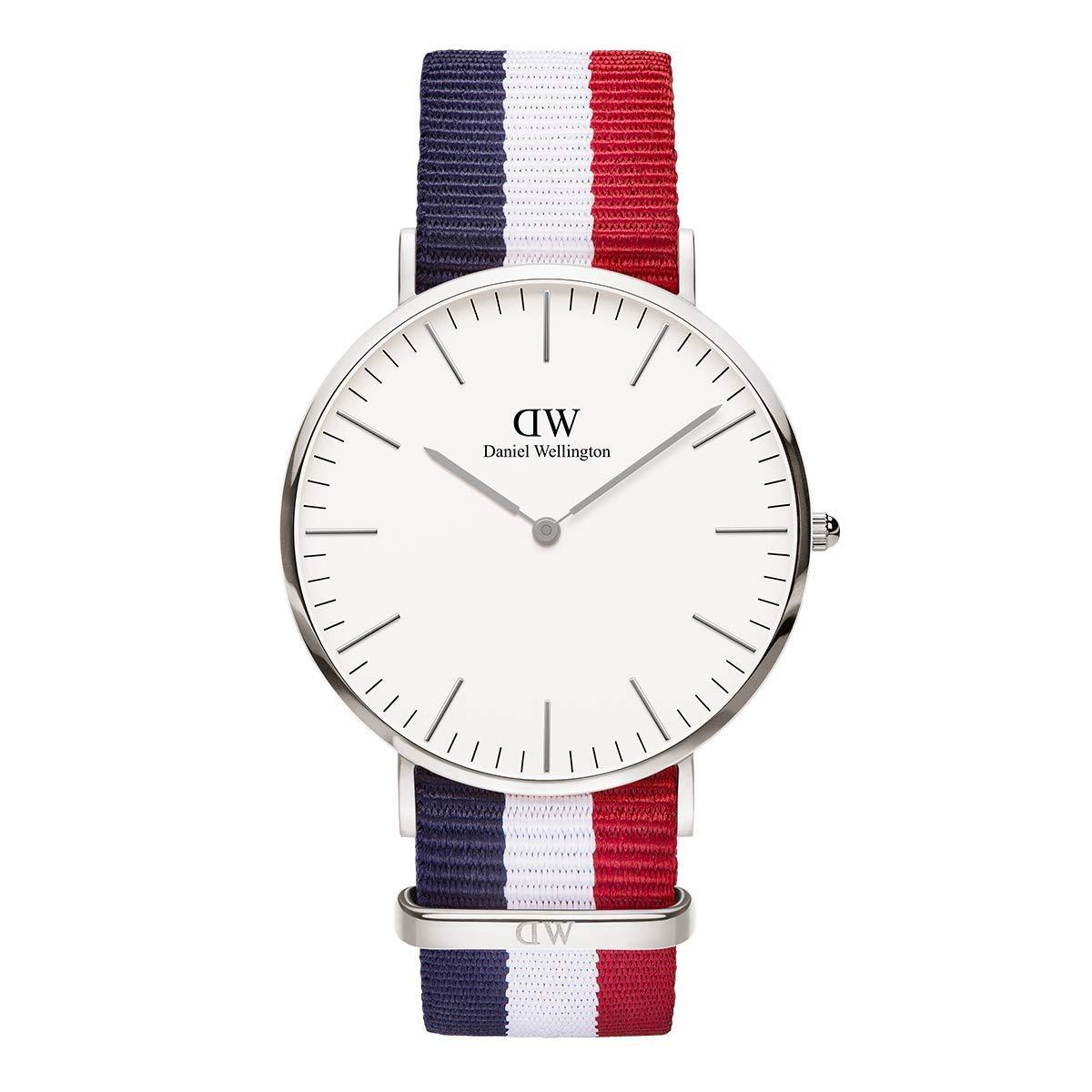 Daniel Wellington Trenduhren  Classic Cambridge, Blau-Weiß-Rot/Roségold Uhr, 40mm, NATO, für Herren