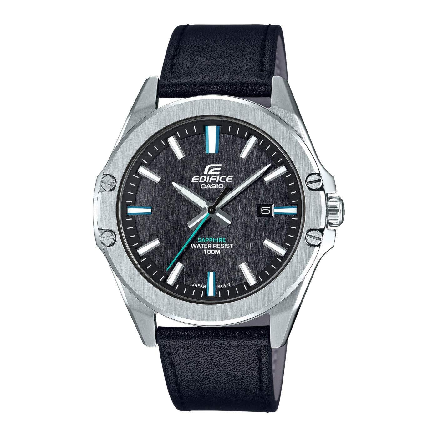 Herren Analog Quarz Uhr mit Leder Armband EFR-S107L-1AVUEF