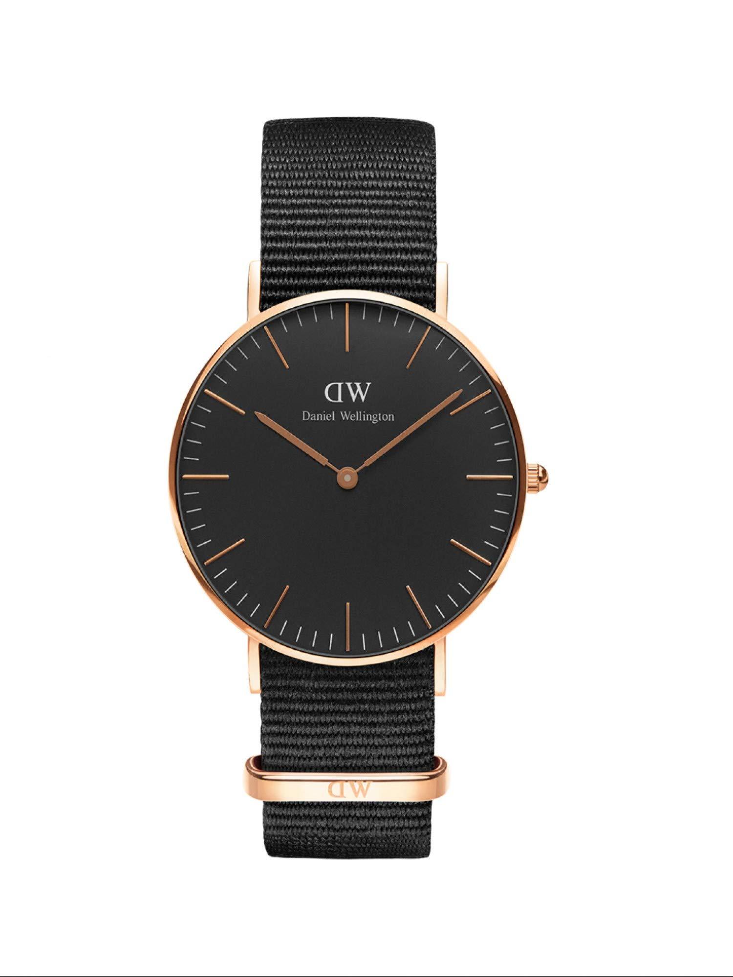 Classic Cornwall, Schwarz/Roségold Uhr, 36mm, NATO, für Damen und Herren